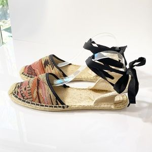 Soludos Ribbon Lace Up Woven Espadrille Sandal 11